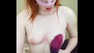 Ginger cutie tit job with a huge monster dildo cumshot!