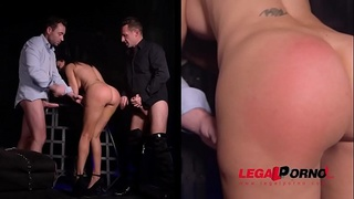 Submissive busty bombshell Jasmine Jae spanked, tied up &amp_ double penetrated GP488