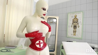 Busty Latex Lucy spanks her ass &amp_ fills her creamy pussy with clinic sex toy