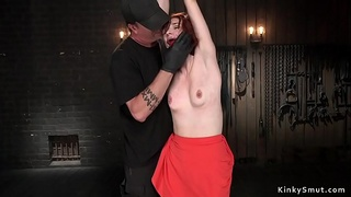 Redhead gets red ass from whipping