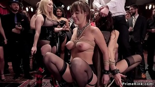 Busty sluts made to fuck in group party