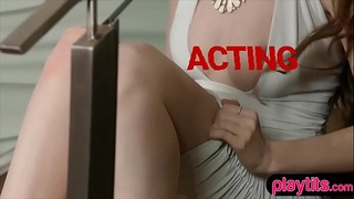 Rich high class redhead chick pussy play