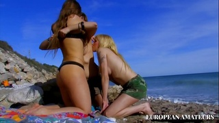 Orgy on the beach in Cuba with three horny blondes eager for cum