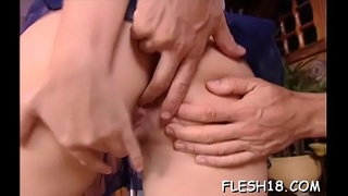 Lovely doll with amazing tits works jock like a porn mistresse