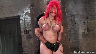 Busty redhead with big ass takes hogtie
