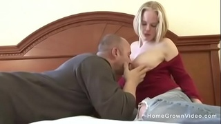 Big tit amateur blonde wife fucks her husband