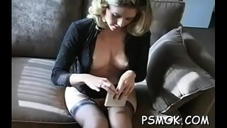 Dirty slut pleasing her man whilst smoking a cigarette