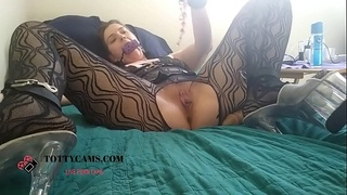 TOTTYCAM Bondage neighbour playing with Dildo and Toys