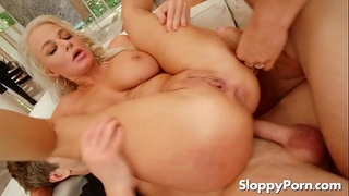 Slutty mommy London River double anal