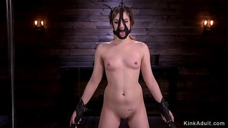 Brunette slave whipped and spanked