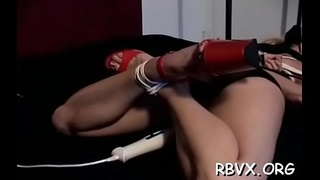 Attractive young beauty gets her first bondage experience