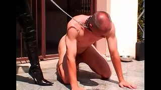 Femdom fetish with playgirl making dude fuck her with thong on