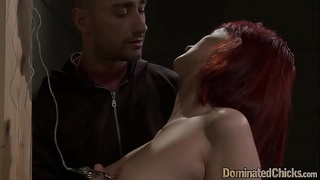 Finger fucked submissive gets cumcovered