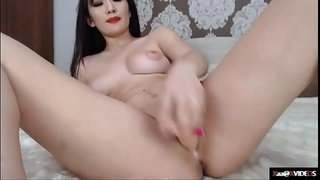Busty Beautiful Asian with tattoo masturbation and ride dildo PT2