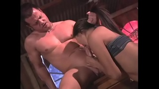 Petite Asian whore gives head and rides a hard cock