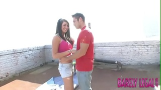 Young minx Skyla Page bent over for rooftop banging