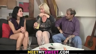 Guy finds 3some orgy with old couple with his teen gf
