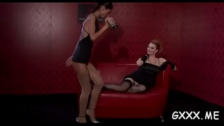 Hot lesbo action with hardcor dildo play on pleasant pussies