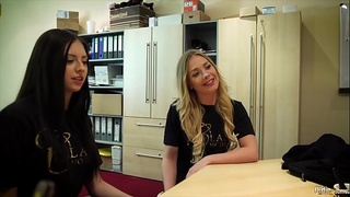 Blonde and brunette young and horny share the old man'_s cock and suck it deepthroat then get deep pussy fucked by him they are so hot and the old man cums in the teens mouths and they spit and lick from each other