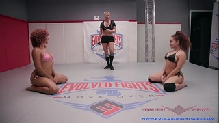 Gabriella Paltrova submits to the power of Daisy Ducati on the wrestling mat