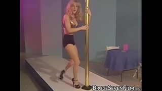 Lesbo striptease turns into rough toying foursome