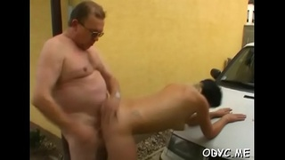 Perverted old dude gets lucky with a tight juvenile pussy