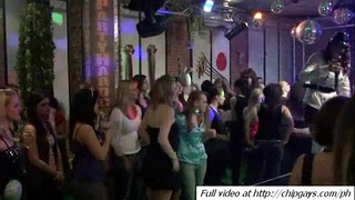Group girls dancing and drinking on party