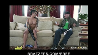 HOT tattooed brunette Christy Mack is fucked to orgasm by her fan