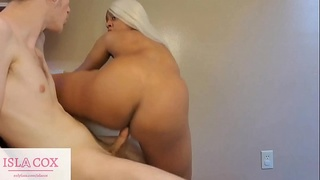 Cute Thick Ebony IslaCox Shows Off Riding Skills on Big White Cock!