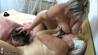 OldNanny BBW mature and Old granny with guy have nice treesome