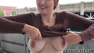 Busty Czech babe screwed in the bus stop