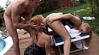 Two blondes in latex brutally fucked by Rocco Siffredi