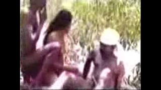 Tamil Village Aunty in Threesome Group Sex with 2 Neighbor Mans at Outdoor