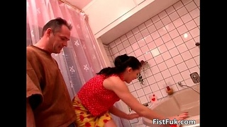 Hot brunette gets fist fucked and cock