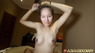 Asian Sex Diary - Asian gets creampied by big white cock