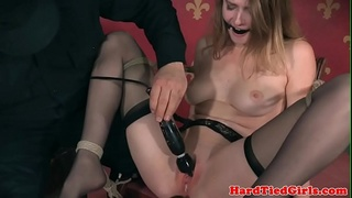 Stockinged bdsm sub toyed and made to squirt