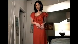 Hot girl lived strip tease with sexy dress